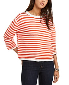 Cotton Striped 3/4-Sleeve Sweater, Created For Macy's