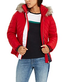 Faux-Fur-Trim Hooded Puffer Jacket