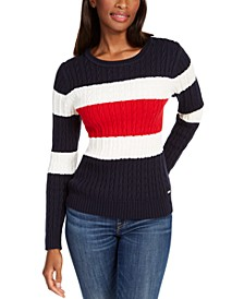 Flag Colorblocked Cotton Cable-Knit Sweater