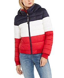 Tri-Color Hooded Cropped Jacket