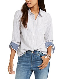 Metallic-Striped Utility Shirt, Created For Macy's