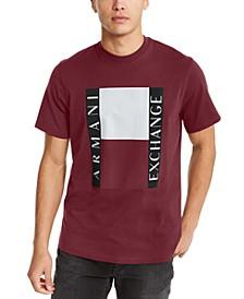 Men's Colored Blocks Between Vertical AX Text Logo T-Shirt