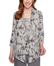 Boardroom Printed Layered-Look Top
