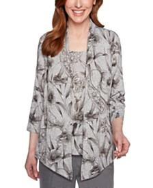 Alfred Dunner Boardroom Printed Layered-Look Top