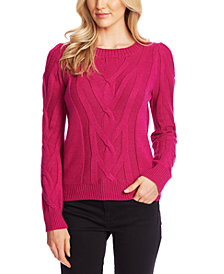 CeCe Cable Knit Puff Sleeve Sweater
