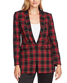 Plaid Notched-Lapel Blazer