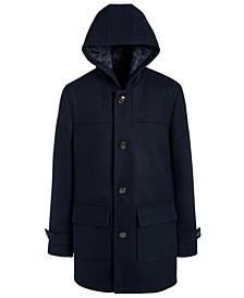 Big Boys Classic-Fit Dark Navy Blue Hooded Overcoat