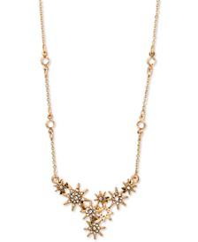 "Gold-Tone Pavé Star Statement Necklace, 16"" + 3"" extender"