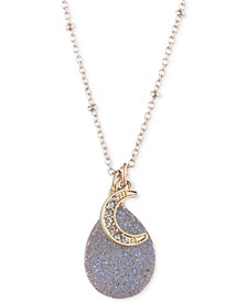 "Gold-Tone Pavé Moon Druzy Stone Pendant Necklace & Phone Card Holder Gift Set, 16"" + 3"" extender, Created for Macy's"