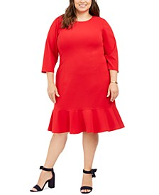 Plus Size Ruffled-Hem A-Line Dress