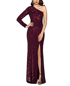 Sequinned One-Shoulder Gown