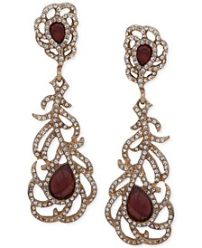 Gold-Tone Pavé & Stone Openwork Flower Drop Earrings