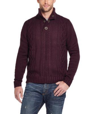 Men's Military Button Mock Turtleneck Sweater