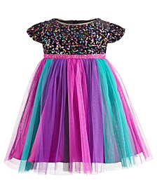 Baby Girls Rainbow Sequin Mesh Dress