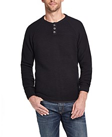 Men's Textured Long Sleeve Henley Sweater
