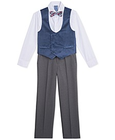 Little Boys 4-Pc. Polka Dot Double-Breasted Velvet Vest Set