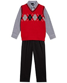 Little Boys 3-Pc. Argyle Sweater Vest, Check Shirt & Pants Set