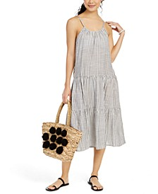 Sleeveless Striped Cotton Cover-Up Midi Dress