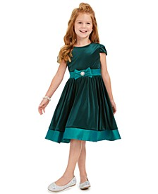 Little Girls Velvet Bow Dress