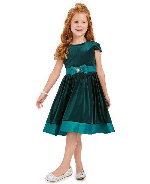 Rare Editions Toddler Girls Velvet Bow Dress