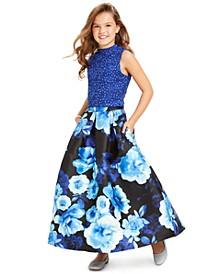 Big Girls 2-Pc. Lace Top & Floral-Print Skirt Set, Created For Macy's