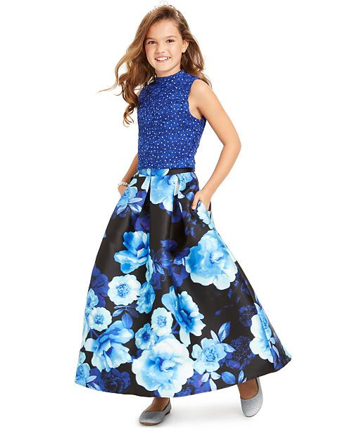 Speechless Big Girls 2-Pc. Lace Top & Floral-Print Skirt Set, Created For Macy's