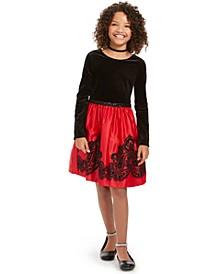 Big Girls Flocked Velvet Dress