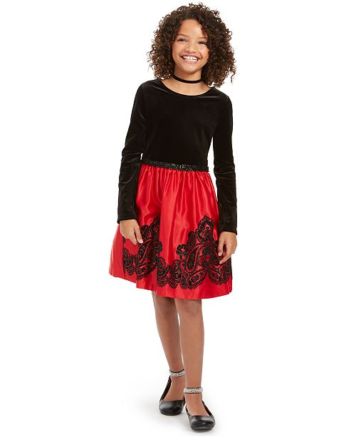 Rare Editions Big Girls Flocked Velvet Dress