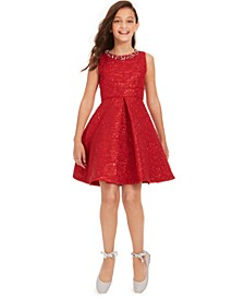 Big Girls Embellished Brocade Dress