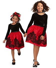 Little, Toddler & Big Girls Flocked Velvet Dress
