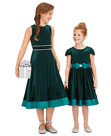 Little, Toddler & Big Girls Velvet Bow Dress