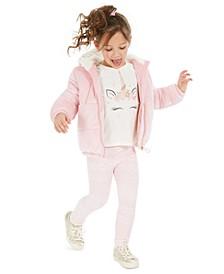 Little Girls Puffer Jacket, Unicorn T-Shirt & Leggings, Created For Macy's