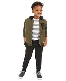 Little Boys T-Rex Fleece-Lined Hoodie, Stripe Thermal T-Shirt & Moto Jogger Pants, Created For Macy's
