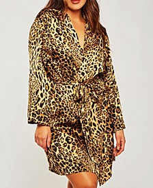 Plus Size Ultra Soft Print Wrap Robe, Online Only