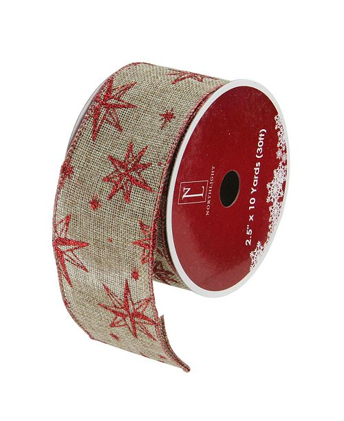 "Northlight Pack of 12 Red Star and Beige Burlap Wired Christmas Craft Ribbon Spools - 2.5"" x 120 Yards Total"