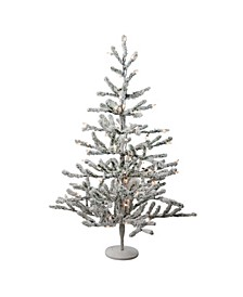 "36"" Pre-Lit Flocked Alpine Coral Artificial Christmas Tree - Warm White Lights"