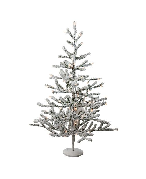 """Northlight 36"""" Pre-Lit Flocked Alpine Coral Artificial Christmas Tree - Warm White Lights"""