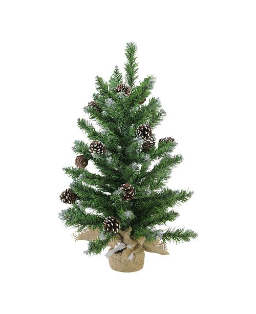 "Northlight 24"" Frosted Norway Pine with Pine Cones Artificial Christmas Tree in Burlap Base - Unlit"