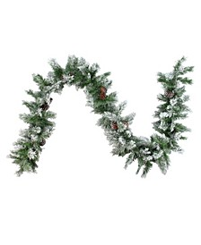 9' Flocked Angel Pine with Pine Cones Artificial Christmas Garland - Unlit