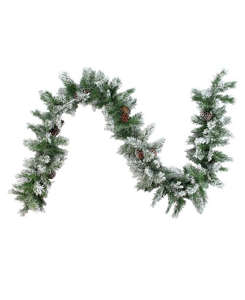 Northlight 9' x Flocked Angel Pine with Pine Cones Artificial Christmas Garland - Unlit