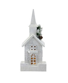 """16.5"""" LED Lighted White Wooden Snowy Church Christmas Decoration"""