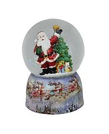 """5.75"""" Musical Waving Santa Claus and Christmas Tree Water Globe"""
