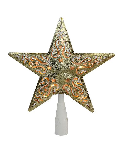 "Northlight 8.5"" Gold Glitter Star Cut-Out Design Christmas Tree Topper - Clear Lights"