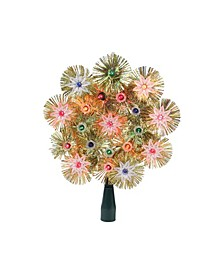 "8"" Retro Gold-Tone Tinsel Snowflake Christmas Tree Topper - Multi Lights"