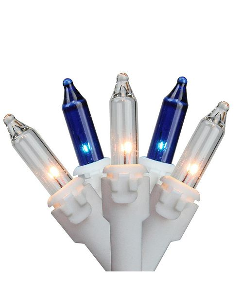 """Northlight Set of 100 Blue Clear Mini Christmas Lights 2.5"""" Spacing - White Wire"""