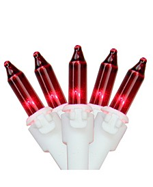 """Set of 50 Red Mini Christmas Lights 2.5"""" Spacing - White Wire"""