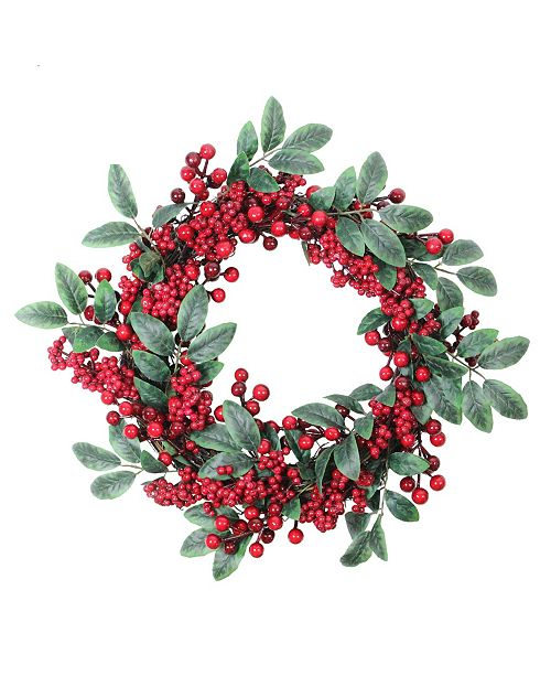 """Northlight 18"""" Artificial Lush Red Berry and Deep Green Leaf Decorative Christmas Wreath - Unlit"""