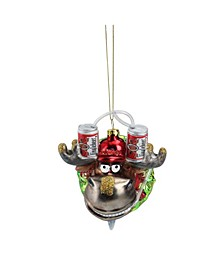 """4.5"""" Moose in Wreath with Beer Drinking Helmet Glass Christmas Ornament"""