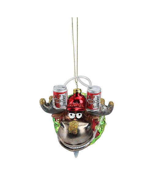 "Northlight 4.5"" Moose in Wreath with Beer Drinking Helmet Glass Christmas Ornament"