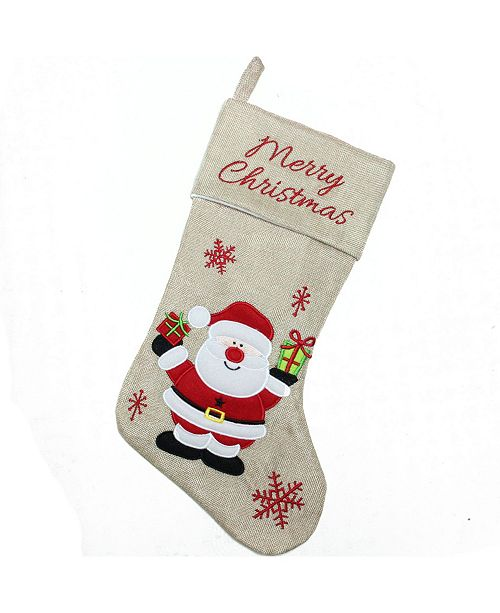 Northlight Northligh Merry Christmas Santa Claus Embroidered Christmas Stocking
